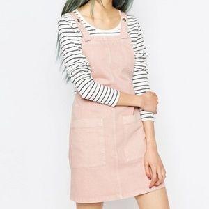 ASOS Denim Pinafore Dress In Pink